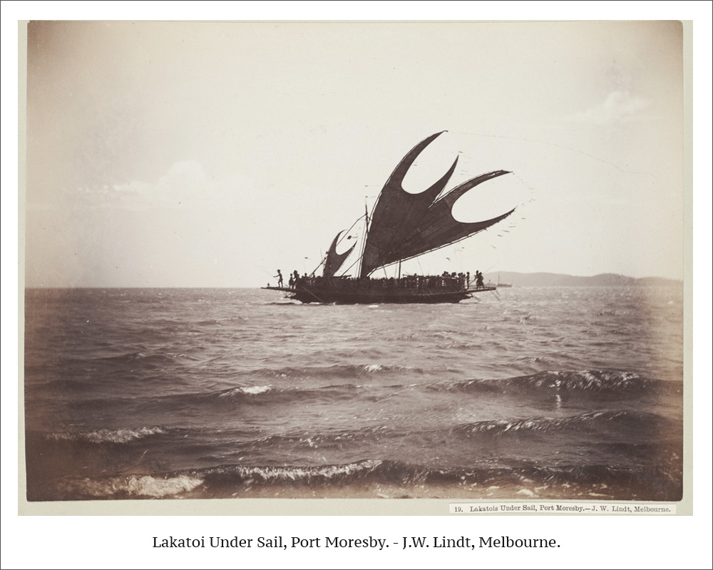 Lakatoi Under Sail, Port Moresby. - J.W. Lindt, Melbourne.